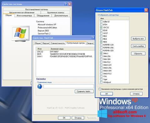 Képernyőkép HashTab Windows 8