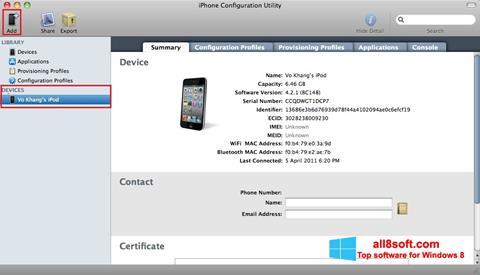 Képernyőkép iPhone Configuration Utility Windows 8