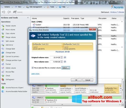 Képernyőkép Acronis Disk Director Windows 8