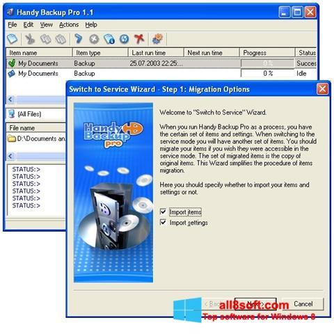 Képernyőkép Handy Backup Windows 8