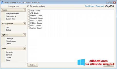 Képernyőkép Driver Sweeper Windows 8