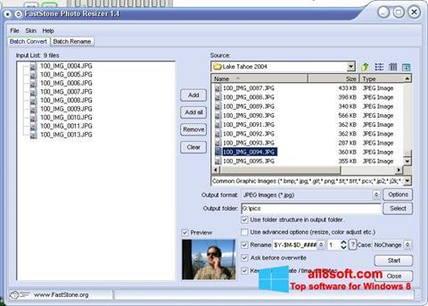 Képernyőkép FastStone Photo Resizer Windows 8