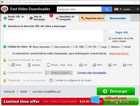 Képernyőkép Fast Video Downloader Windows 8