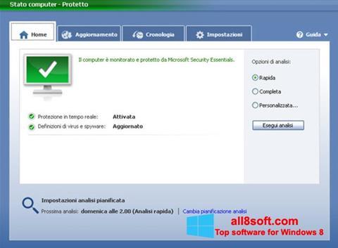 Képernyőkép Microsoft Security Essentials Windows 8