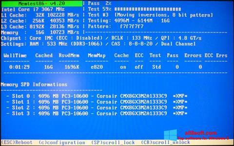Képernyőkép MemTest Windows 8