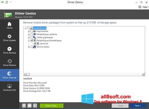 Képernyőkép Driver Genius Windows 8