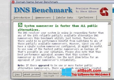 Képernyőkép DNS Benchmark Windows 8