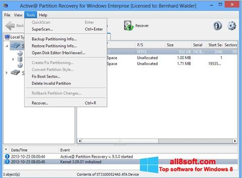 Képernyőkép Active Partition Recovery Windows 8