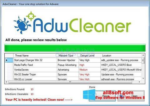 Képernyőkép AdwCleaner Windows 8