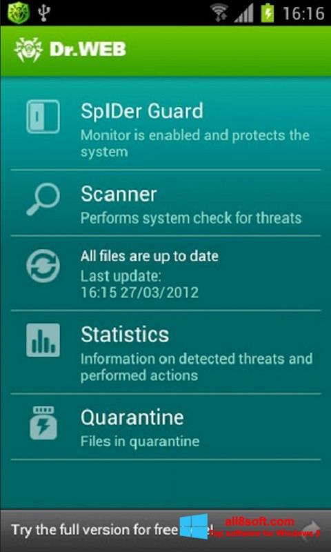 Képernyőkép Dr.Web Light Windows 8