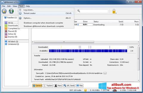 Képernyőkép qBittorrent Windows 8