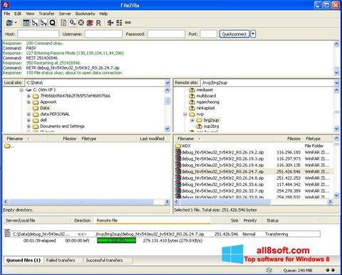 Képernyőkép FileZilla Windows 8
