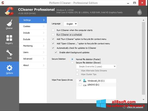 Képernyőkép CCleaner Windows 8