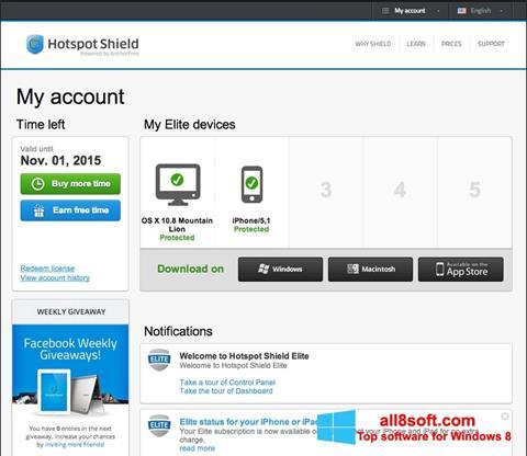 Képernyőkép Hotspot Shield Windows 8