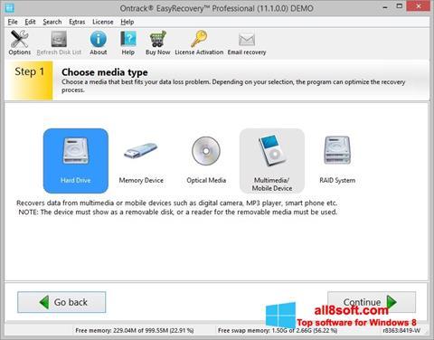Képernyőkép EasyRecovery Professional Windows 8