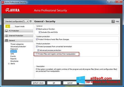 Képernyőkép Avira Professional Security Windows 8