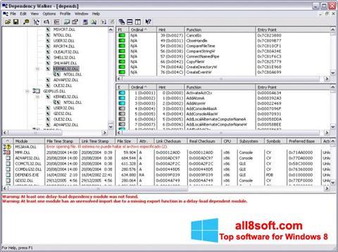 Képernyőkép Dependency Walker Windows 8