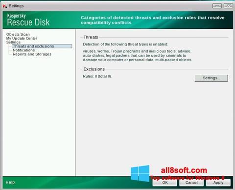 Képernyőkép Kaspersky Rescue Disk Windows 8