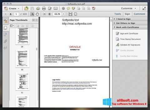 Képernyőkép Adobe Acrobat Windows 8