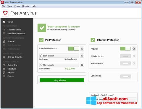 Képernyőkép Avira Free Antivirus Windows 8