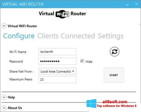 Képernyőkép Virtual WiFi Router Windows 8