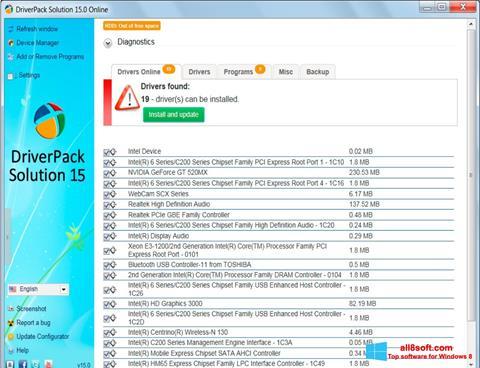 Képernyőkép DriverPack Solution Windows 8