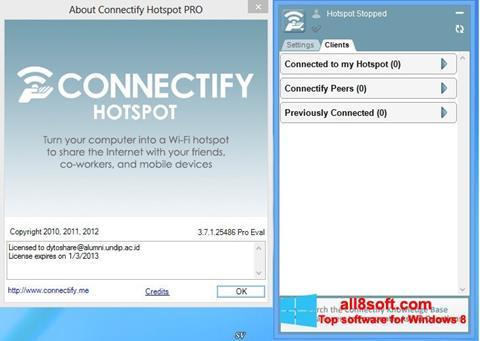 Képernyőkép Connectify Hotspot Windows 8