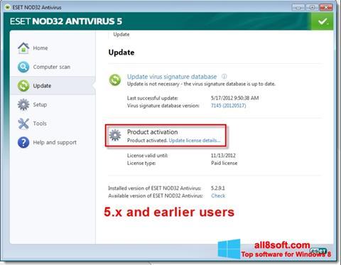 Képernyőkép ESET NOD32 Windows 8