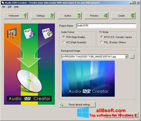 Képernyőkép Audio DVD Creator Windows 8