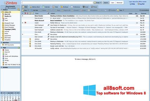 Képernyőkép Zimbra Desktop Windows 8