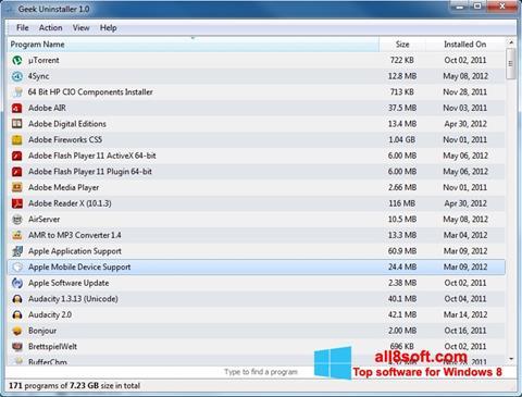 Képernyőkép Geek Uninstaller Windows 8
