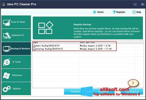 Képernyőkép PC Cleaner Windows 8