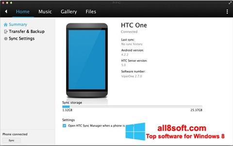 Képernyőkép HTC Sync Windows 8