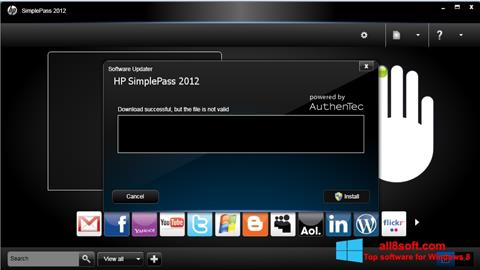 Képernyőkép HP SimplePass Windows 8