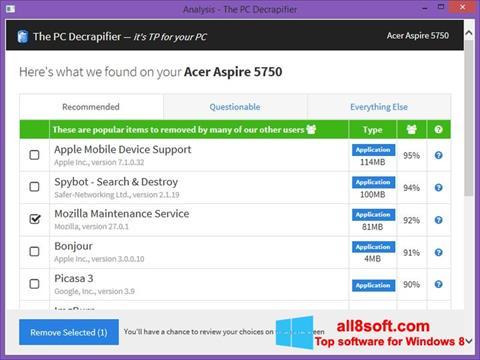 Képernyőkép PC Decrapifier Windows 8
