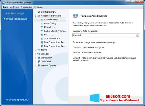 Képernyőkép Auslogics Internet Optimizer Windows 8