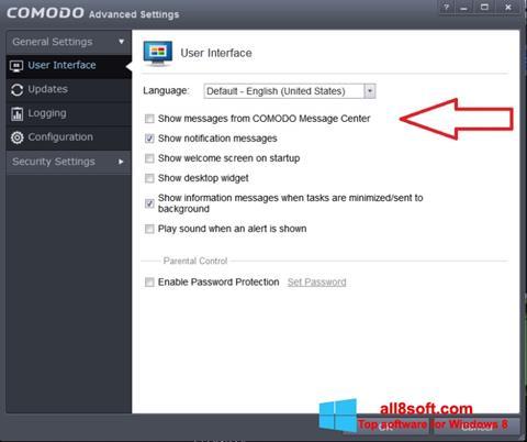 Képernyőkép Comodo Windows 8