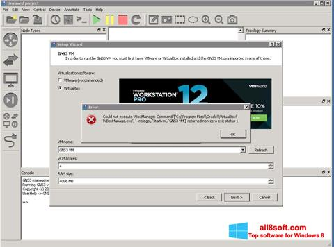 Képernyőkép GNS3 Windows 8
