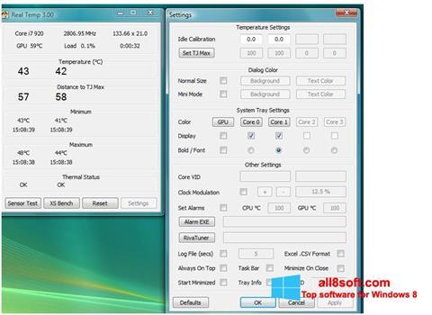 Képernyőkép Real Temp Windows 8