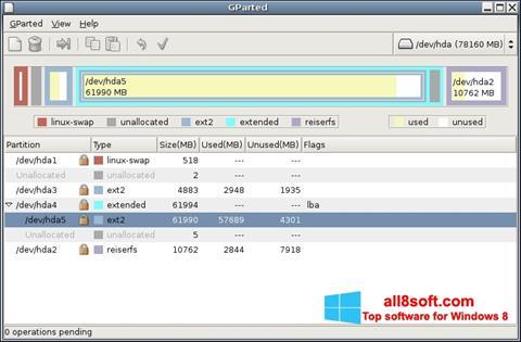 Képernyőkép GParted Windows 8